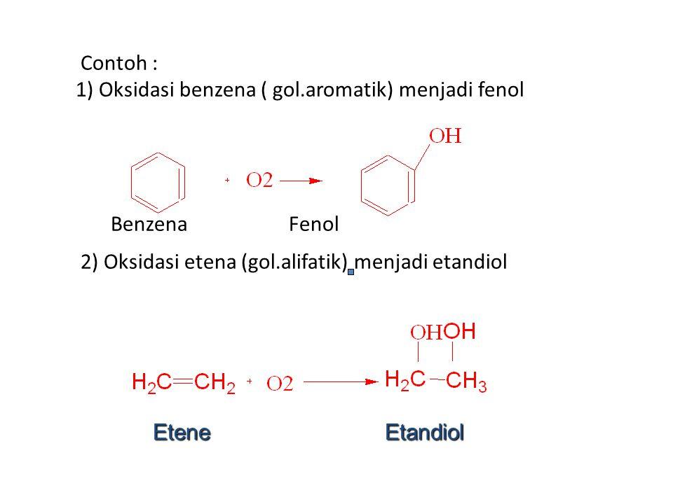 Contoh : 1) Oksidasi benzena ( gol.aromatik) menjadi fenol Benzena Fenol 2) Oksidasi etena (gol.alifatik) menjadi etandiol Etene Etandiol