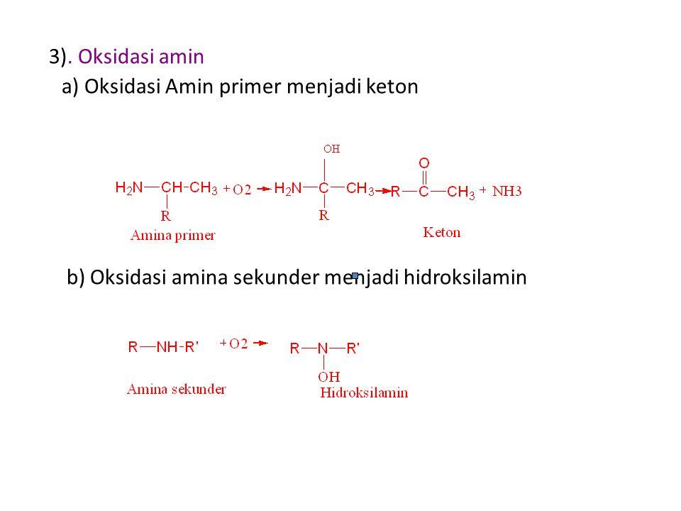 3). Oksidasi amin a) Oksidasi Amin primer menjadi keton b) Oksidasi amina sekunder menjadi hidroksilamin