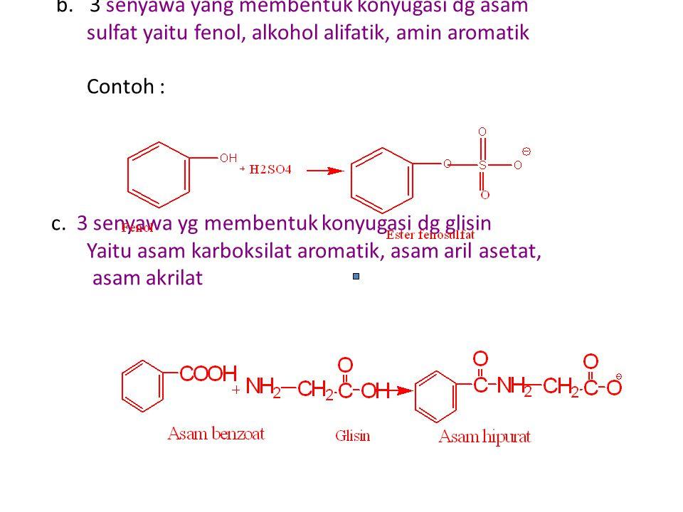 b. 3 senyawa yang membentuk konyugasi dg asam sulfat yaitu fenol, alkohol alifatik, amin aromatik Contoh : c. 3 senyawa yg membentuk konyugasi dg glis