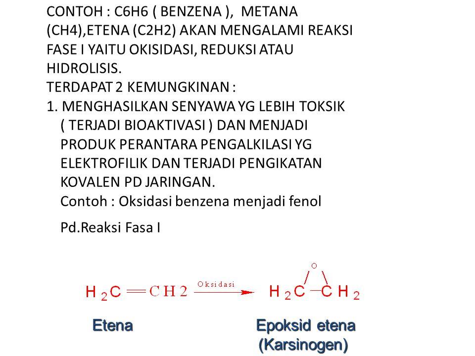 PROSES BIOTRAMSFORMASI C. TOKSIN LIPOFILIK CONTOH : C6H6 ( BENZENA ), METANA (CH4),ETENA (C2H2) AKAN MENGALAMI REAKSI FASE I YAITU OKISIDASI, REDUKSI