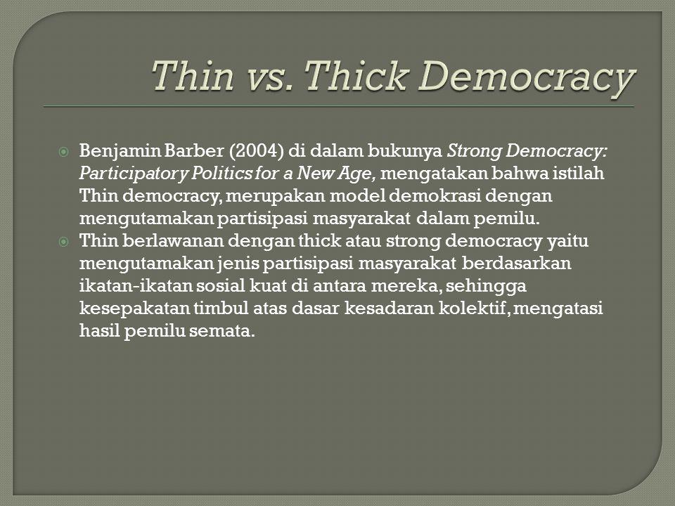  Benjamin Barber (2004) di dalam bukunya Strong Democracy: Participatory Politics for a New Age, mengatakan bahwa istilah Thin democracy, merupakan m