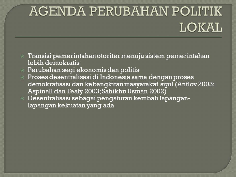  Transisi pemerintahan otoriter menuju sistem pemerintahan lebih demokratis  Perubahan segi ekonomis dan politis  Proses desentralisasi di Indonesi