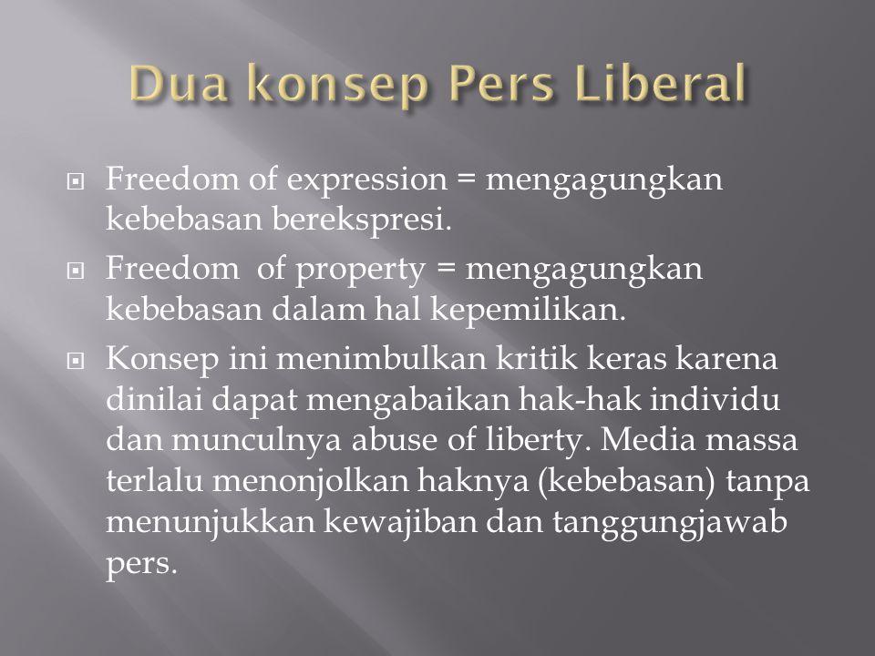  Freedom of expression = mengagungkan kebebasan berekspresi.  Freedom of property = mengagungkan kebebasan dalam hal kepemilikan.  Konsep ini menim