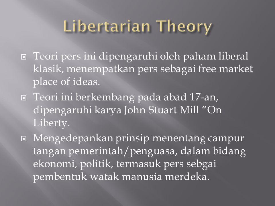  Teori pers ini dipengaruhi oleh paham liberal klasik, menempatkan pers sebagai free market place of ideas.  Teori ini berkembang pada abad 17-an, d