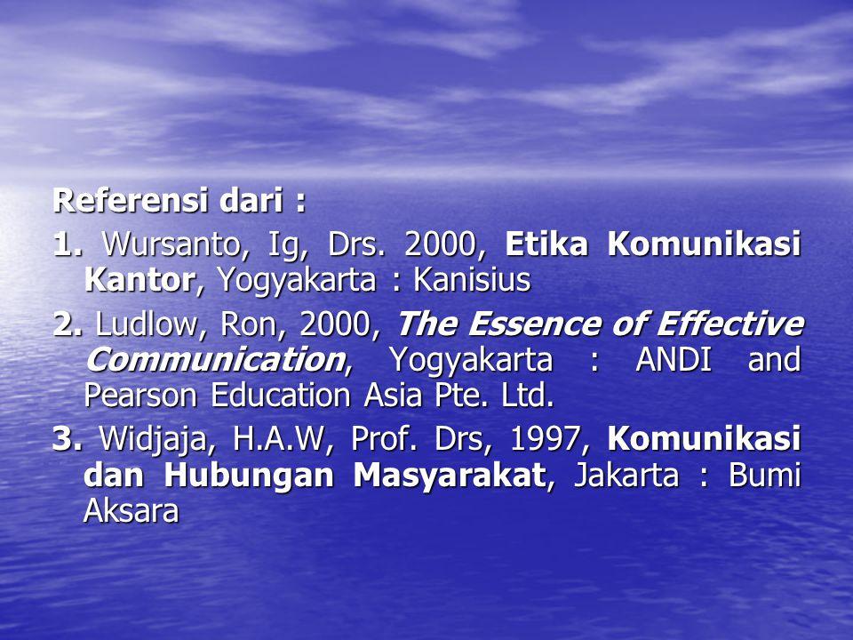 Referensi dari : 1.Wursanto, Ig, Drs. 2000, Etika Komunikasi Kantor, Yogyakarta : Kanisius 2.