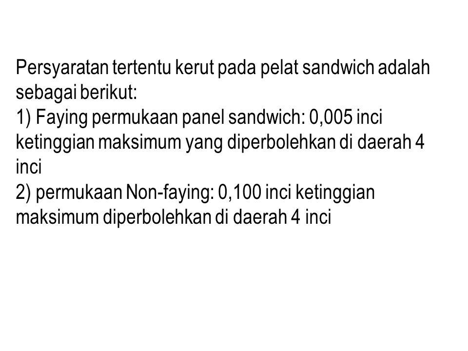 Persyaratan tertentu kerut pada pelat sandwich adalah sebagai berikut: 1) Faying permukaan panel sandwich: 0,005 inci ketinggian maksimum yang diperbolehkan di daerah 4 inci 2) permukaan Non-faying: 0,100 inci ketinggian maksimum diperbolehkan di daerah 4 inci