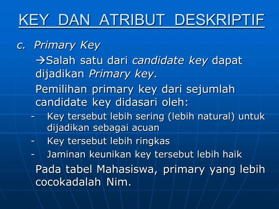 KEY DAN ATRIBUT DESKRIPTIF Atribut Deskriptif adalah atribut- atribut yang tidak menjadi atau merupakan anggota dari Key Primer.