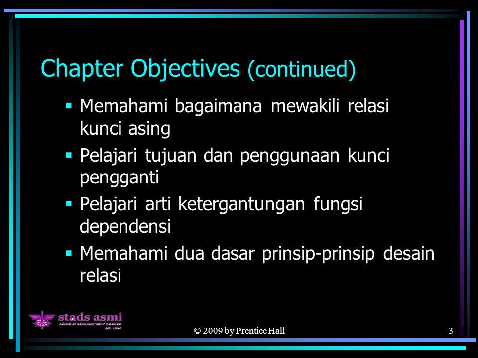 © 2009 by Prentice Hall3 Chapter Objectives (continued)  Memahami bagaimana mewakili relasi kunci asing  Pelajari tujuan dan penggunaan kunci pengganti  Pelajari arti ketergantungan fungsi dependensi  Memahami dua dasar prinsip-prinsip desain relasi