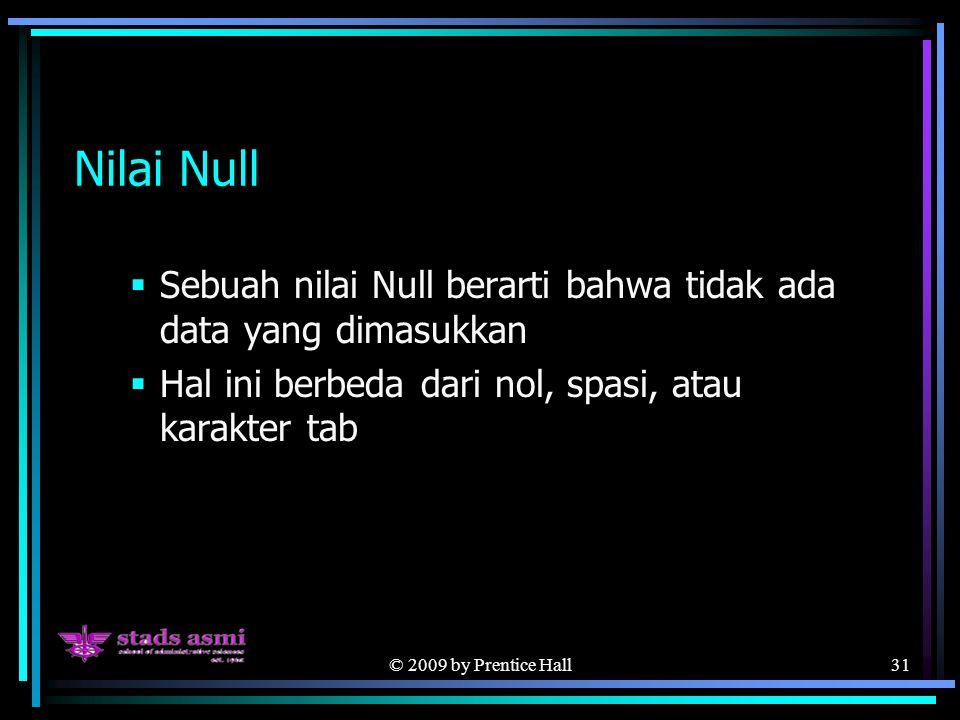 © 2009 by Prentice Hall31 Nilai Null  Sebuah nilai Null berarti bahwa tidak ada data yang dimasukkan  Hal ini berbeda dari nol, spasi, atau karakter tab