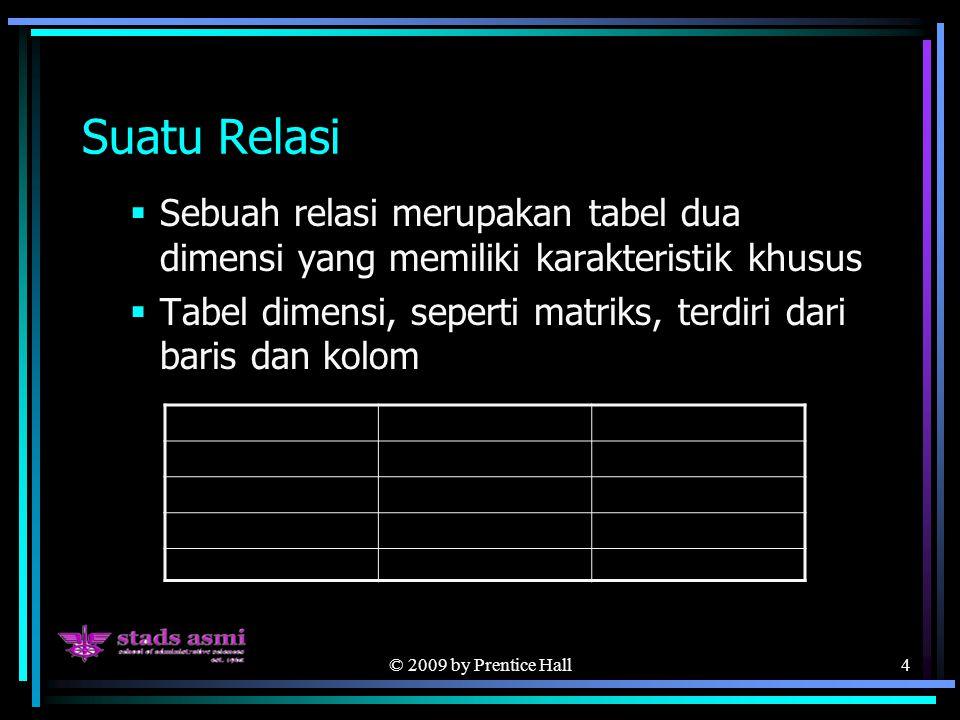 © 2009 by Prentice Hall4 Suatu Relasi  Sebuah relasi merupakan tabel dua dimensi yang memiliki karakteristik khusus  Tabel dimensi, seperti matriks, terdiri dari baris dan kolom