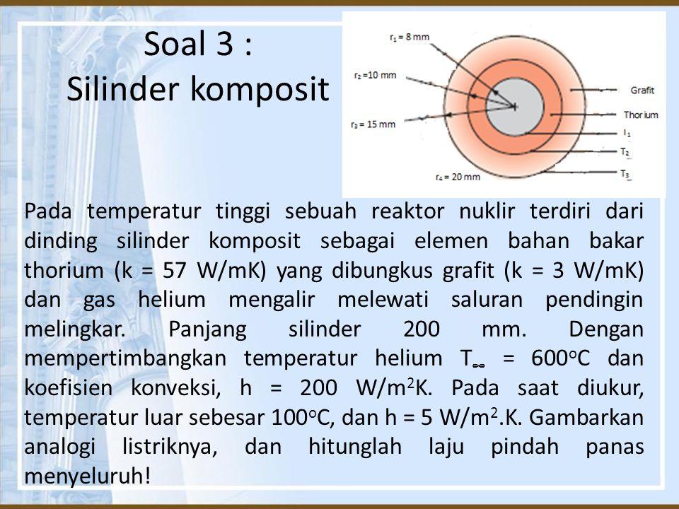 Soal 3 : Silinder komposit Pada temperatur tinggi sebuah reaktor nuklir terdiri dari dinding silinder komposit sebagai elemen bahan bakar thorium (k =