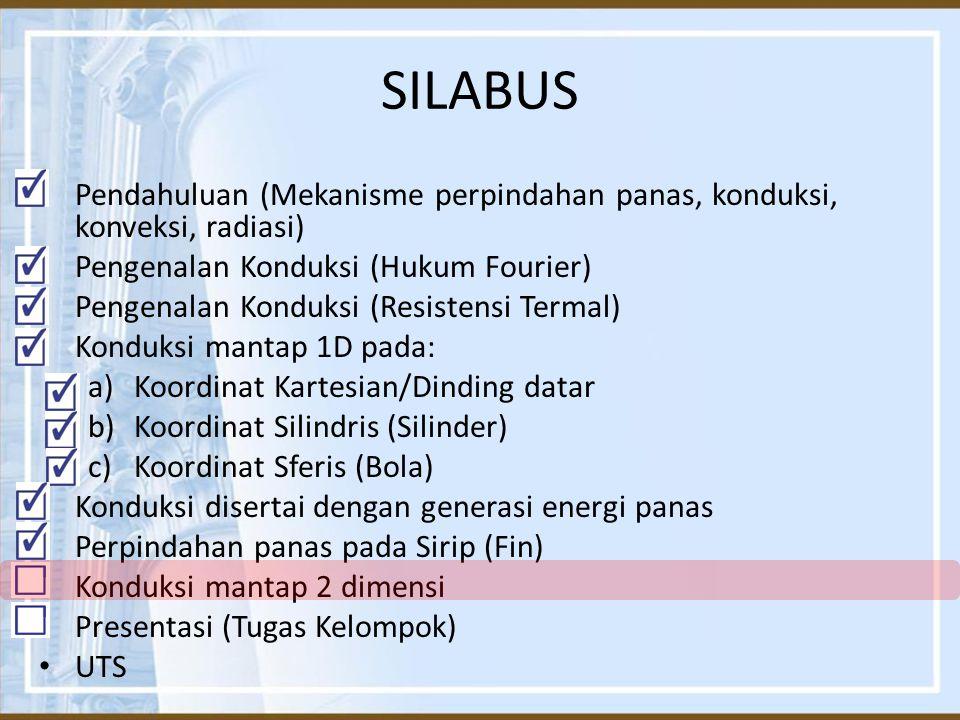 SILABUS Pendahuluan (Mekanisme perpindahan panas, konduksi, konveksi, radiasi) Pengenalan Konduksi (Hukum Fourier) Pengenalan Konduksi (Resistensi Ter