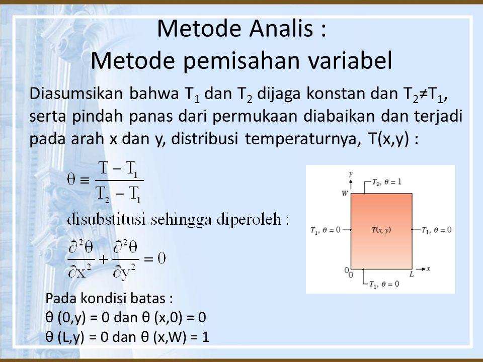 Metode Analis : Metode pemisahan variabel Diasumsikan bahwa T 1 dan T 2 dijaga konstan dan T 2 ≠T 1, serta pindah panas dari permukaan diabaikan dan t