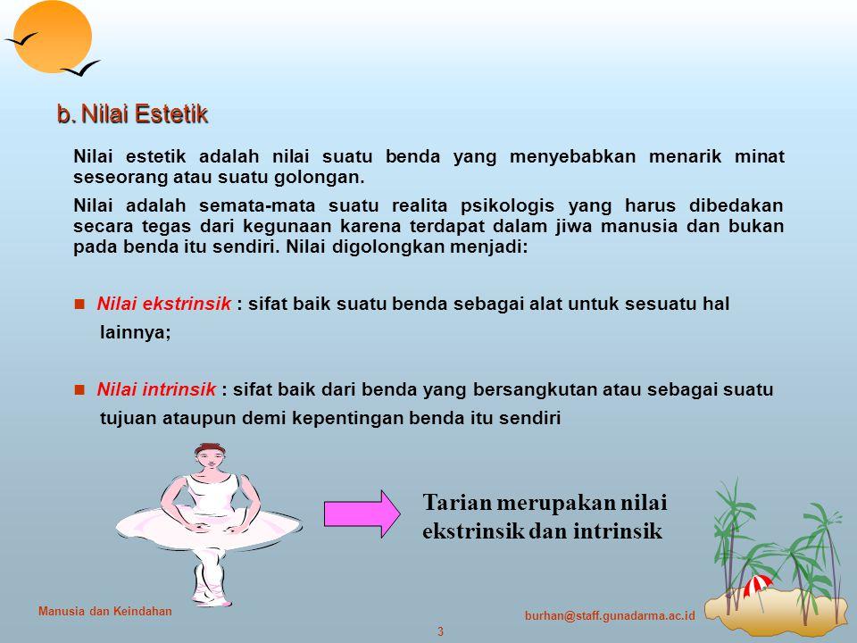 burhan@staff.gunadarma.ac.id 4 Manusia dan Keindahan c.