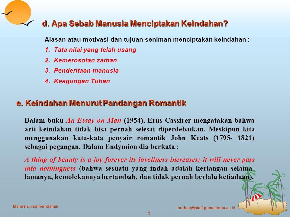 burhan@staff.gunadarma.ac.id 5 Manusia dan Keindahan d.