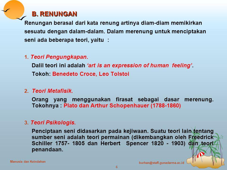 burhan@staff.gunadarma.ac.id 6 Manusia dan Keindahan B.