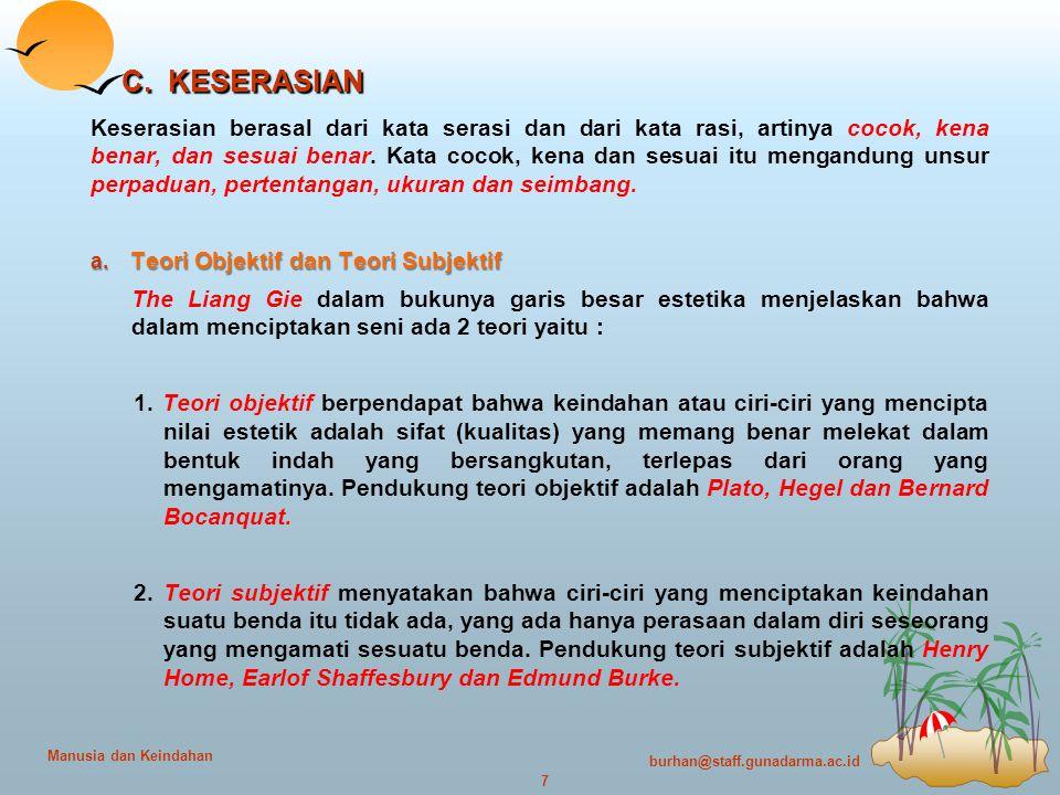 burhan@staff.gunadarma.ac.id 7 Manusia dan Keindahan C.