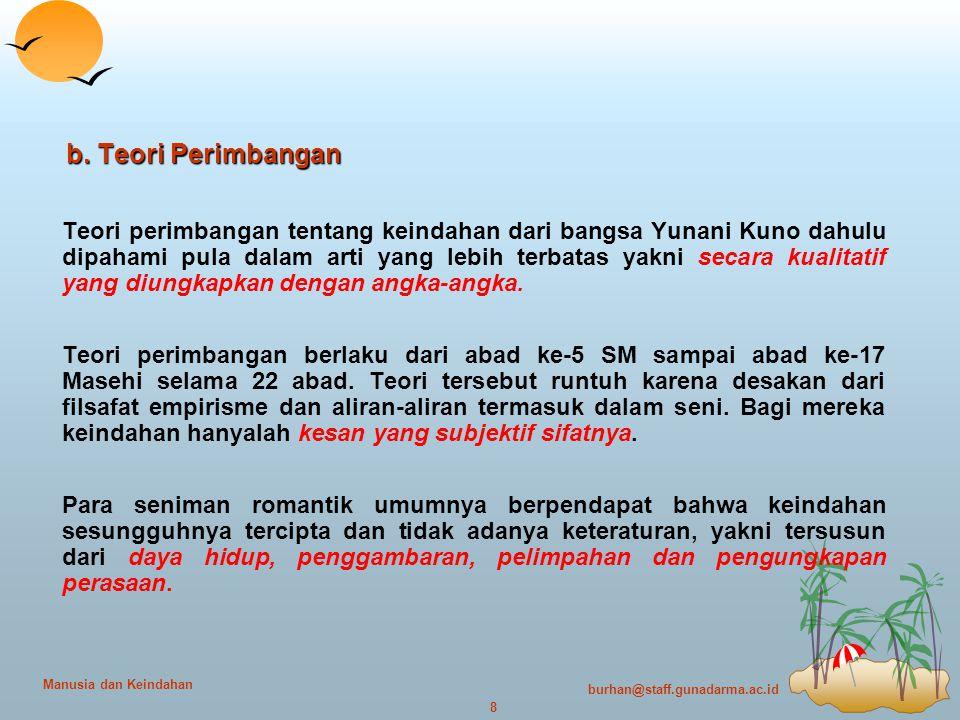 burhan@staff.gunadarma.ac.id 8 Manusia dan Keindahan b.
