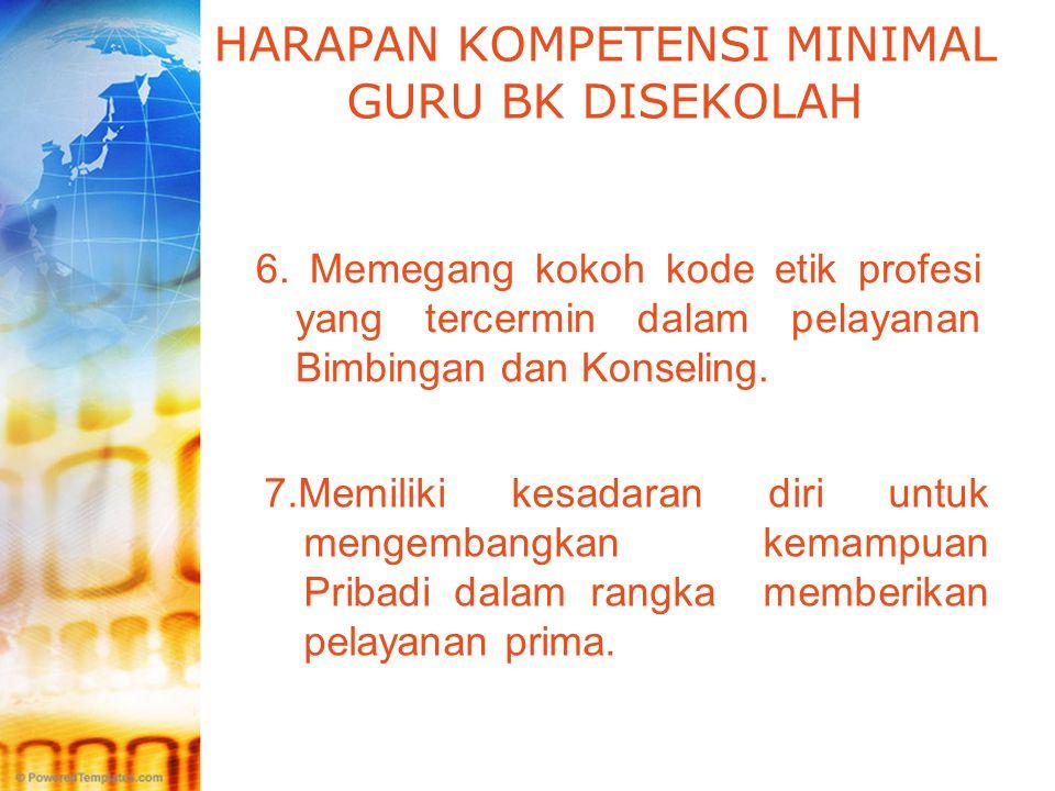 LOGO HARAPAN KOMPETENSI MINIMAL GURU BK DISEKOLAH 6. Memegang kokoh kode etik profesi yang tercermin dalam pelayanan Bimbingan dan Konseling. 7.Memili