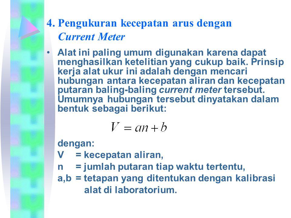 4. Pengukuran kecepatan arus dengan Current Meter Alat ini paling umum digunakan karena dapat menghasilkan ketelitian yang cukup baik. Prinsip kerja a