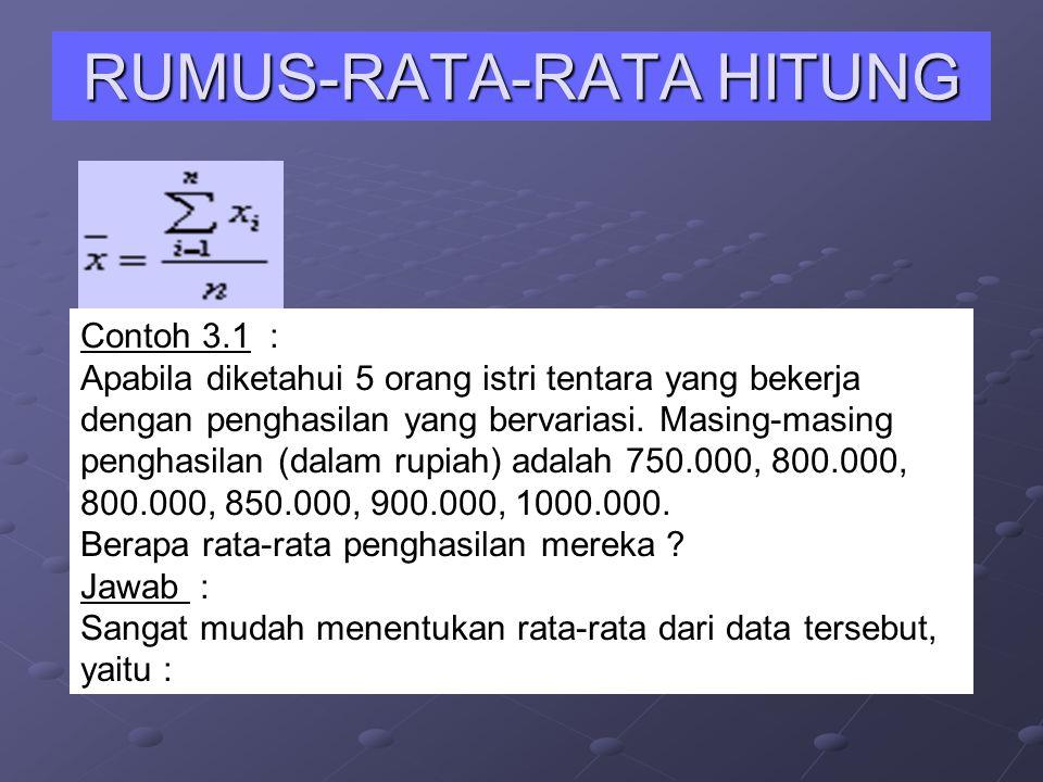 RUMUS-RATA-RATA HITUNG Contoh 3.1 : Apabila diketahui 5 orang istri tentara yang bekerja dengan penghasilan yang bervariasi. Masing-masing penghasilan