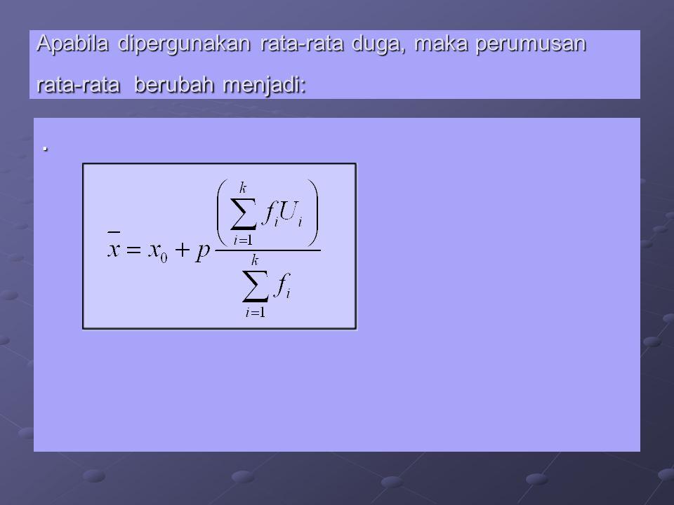 Penjelasan : Xo = salah satu harga titik tengah kelas (merupakan rata-rata duga) p = panjang kelas interval p = panjang kelas interval Ui = 0 jika = Xo Ui = 0 jika = Xo = 1,2,3, … untuk kelas di atas Xo = 1,2,3, … untuk kelas di atas Xo = -1,-2,-3, … untuk kelas di bawah Xo = -1,-2,-3, … untuk kelas di bawah Xo Contoh 3.4 : Contoh 3.4 : Dari contoh nilai NEM di atas, apabila dipergunakan rata-rata duga dengan nilai rata- rata duga adalah 47, maka : Dari contoh nilai NEM di atas, apabila dipergunakan rata-rata duga dengan nilai rata- rata duga adalah 47, maka :