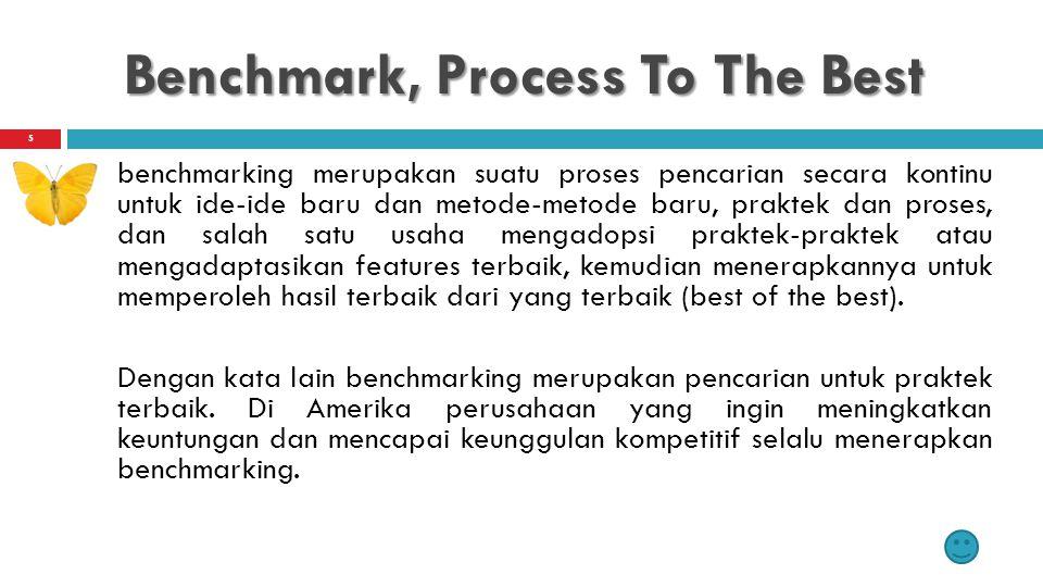 Benchmark, Process To The Best benchmarking merupakan suatu proses pencarian secara kontinu untuk ide-ide baru dan metode-metode baru, praktek dan pro