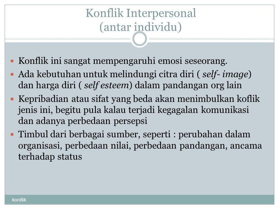 Konflik Interpersonal (antar individu) konflik Konflik ini sangat mempengaruhi emosi seseorang. Ada kebutuhan untuk melindungi citra diri ( self- imag