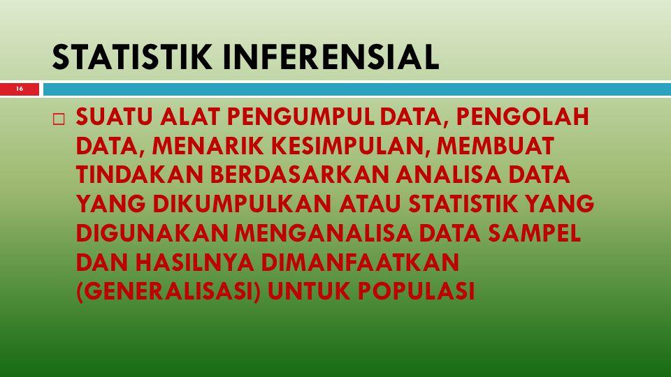 15 BEBERAPA PENGERTIAN  STATISTIK DESKRIPTIF adalah statistik yang mendeskripsikan atau menggambarkan tentang data yang disajikan dalam bentuk tabel, diagram, pengukuran central tendency