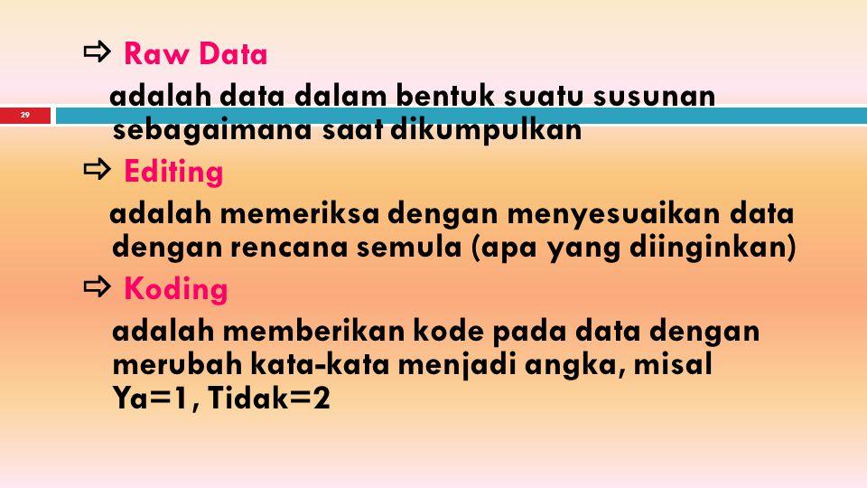 28 PENGOLAHAN DATA Input Proses Output Raw Data - Manual Informasi : - EDP -Tabel - Grafik Tujuan : Meringkas data sehingga mampu memberikan informasi menurut kebutuhan