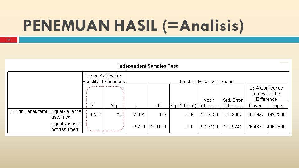 31 PENEMUAN HASIL  Pengetahuan dan pengukuran yang cermat menurut ilmu statistic sangat diperlukan.