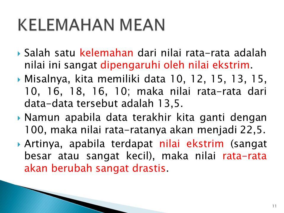 Jika terdapat n buah data yang terdiri dari x 1, x 2, x 3, … x n, mean data tersebut dapat didefinisikan sebagai berikut.