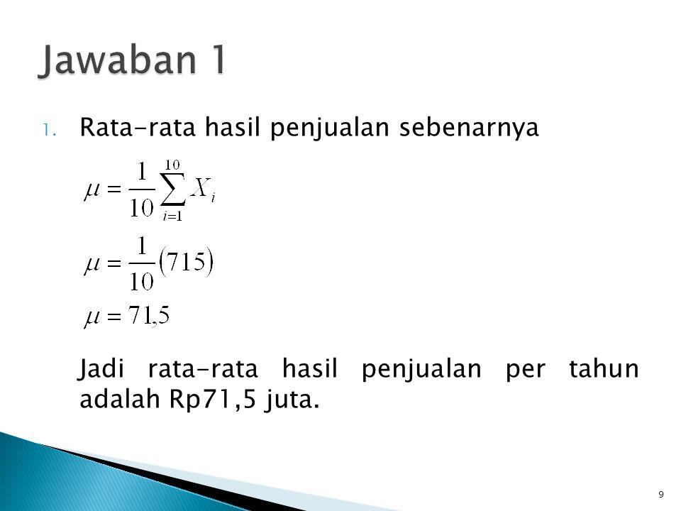 1. Rata-rata hasil penjualan sebenarnya Jadi rata-rata hasil penjualan per tahun adalah Rp71,5 juta. 9