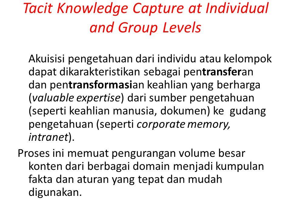 Tacit Knowledge Capture at Individual and Group Levels Ide mengakuisisi pengetahuan dari seorang ahli dalam bidang tertentu tujuannya untuk merancang sebuah pemaparan dari informasi yang diakuisisi seperti: pengalaman.