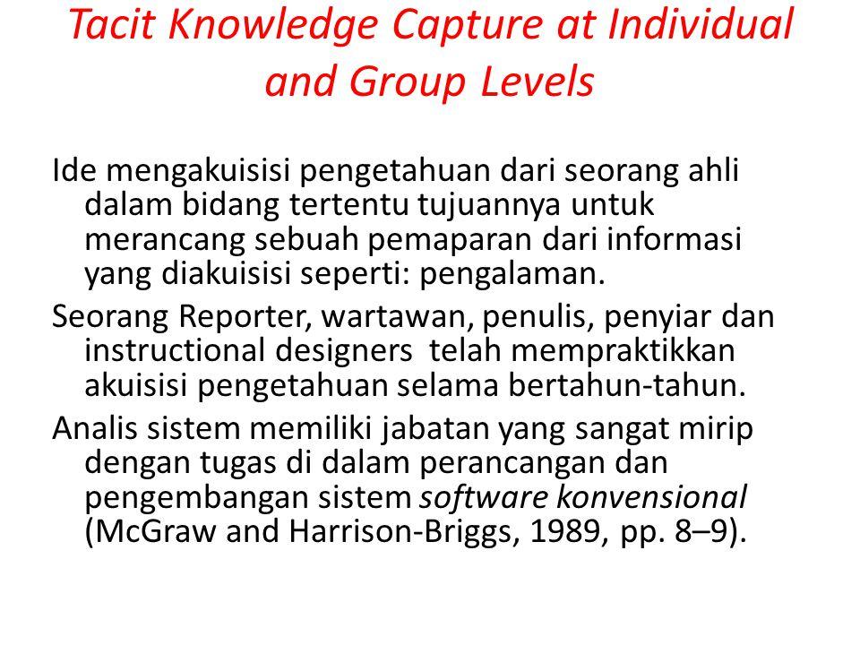 Tacit Knowledge Capture at Individual and Group Levels Peneliti kecerdasan buatan, Parsave (1988), mengemukakan 3 pendekatan utama untuk akuisisi pengetahuan dari individu dan kelompok : i.