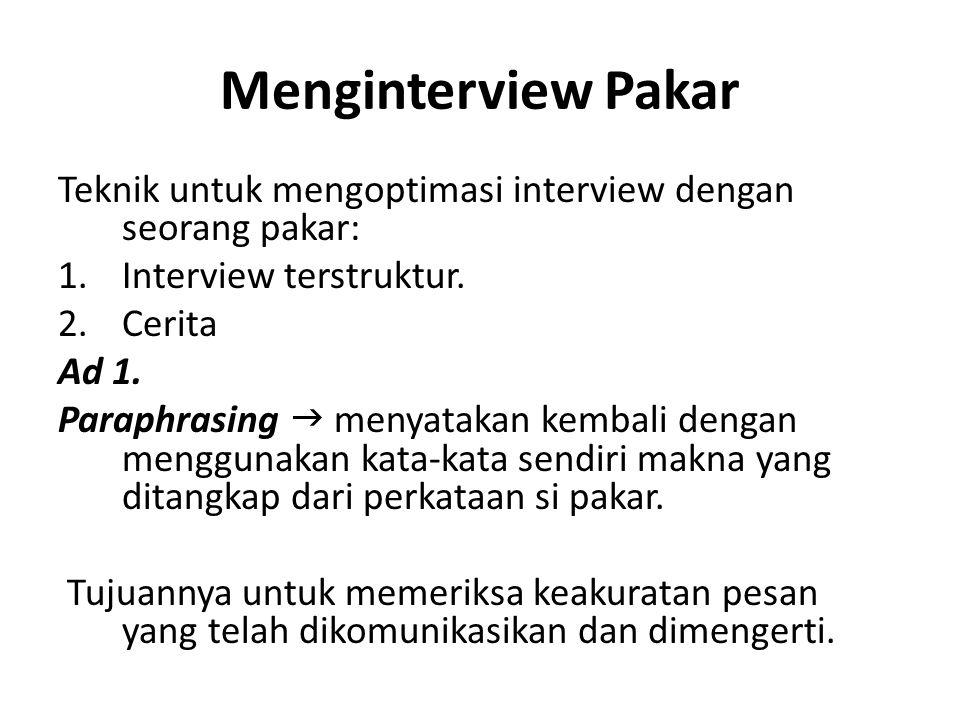 Menginterview Pakar Interview Terstruktur Clarifying  membuat pakar mengetahui bahwa pesan tidak langsung dapat dimengerti.