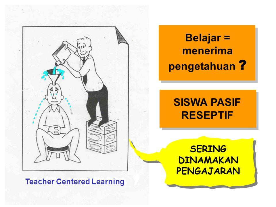 Teacher Centered Learning SISWA PASIF RESEPTIF Belajar = menerima pengetahuan ? SERING DINAMAKAN PENGAJARAN