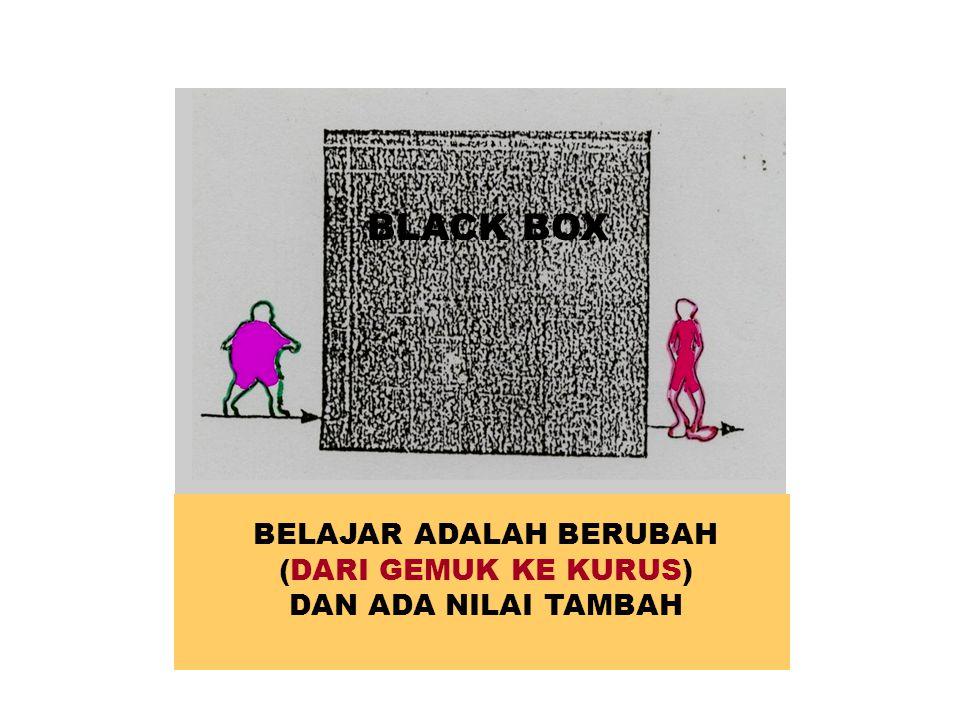BELAJAR ADALAH BERUBAH (DARI GEMUK KE KURUS) DAN ADA NILAI TAMBAH BLACK BOX