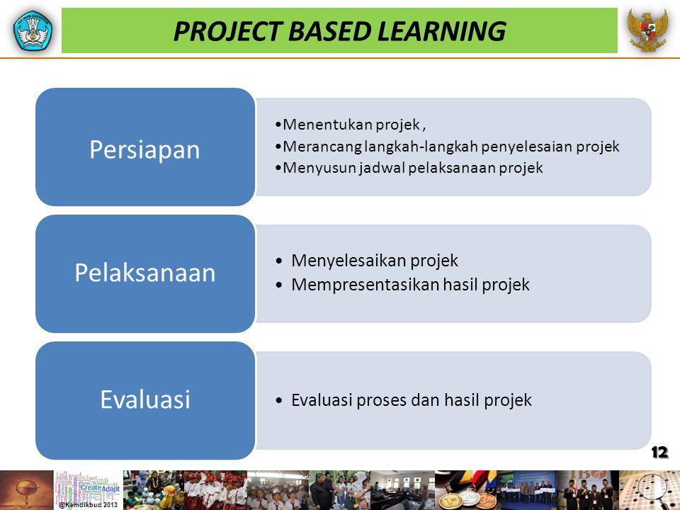 PROJECT BASED LEARNING Menentukan projek, Merancang langkah-langkah penyelesaian projek Menyusun jadwal pelaksanaan projek Persiapan Menyelesaikan pro