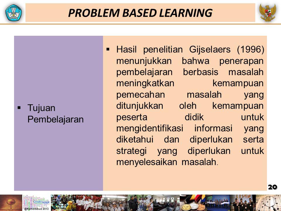  Tujuan Pembelajaran  Hasil penelitian Gijselaers (1996) menunjukkan bahwa penerapan pembelajaran berbasis masalah meningkatkan kemampuan pemecahan