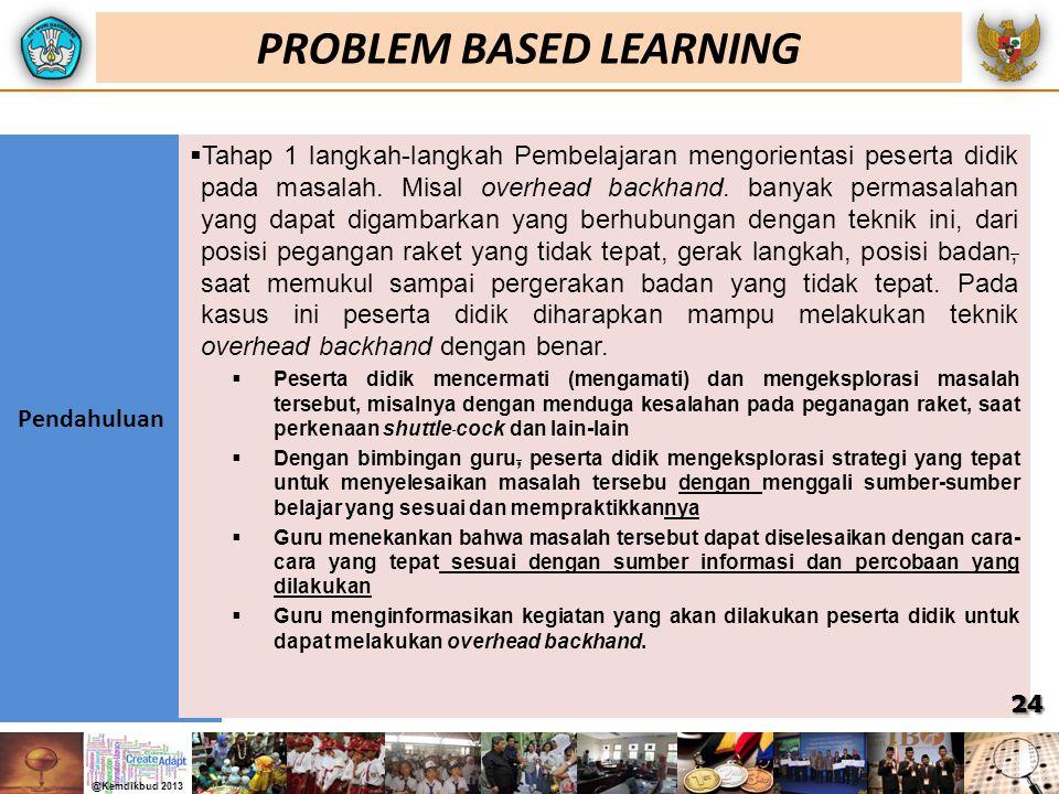 Pendahuluan  Tahap 1 langkah-langkah Pembelajaran mengorientasi peserta didik pada masalah. Misal overhead backhand. banyak permasalahan yang dapat d