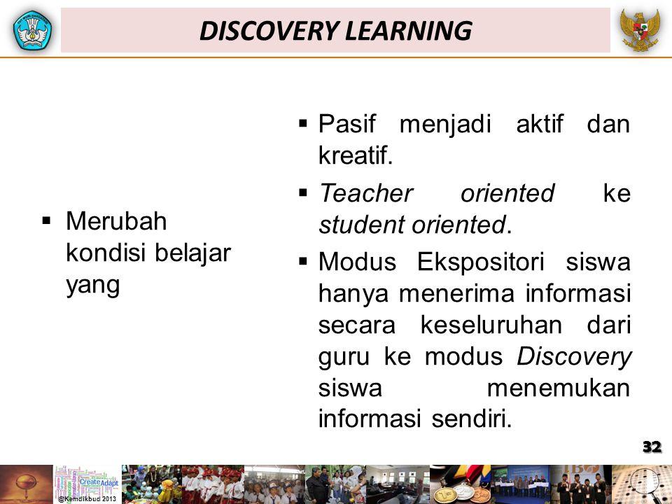  Merubah kondisi belajar yang  Pasif menjadi aktif dan kreatif.  Teacher oriented ke student oriented.  Modus Ekspositori siswa hanya menerima inf