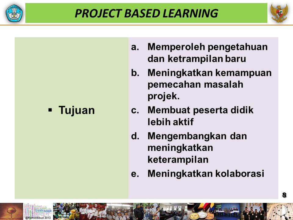  Tujuan a.Memperoleh pengetahuan dan ketrampilan baru b.Meningkatkan kemampuan pemecahan masalah projek. c.Membuat peserta didik lebih aktif d.Mengem