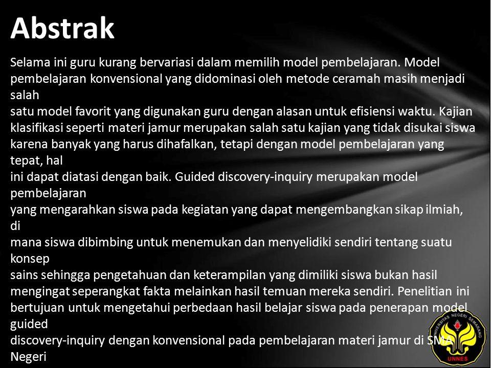 Kata Kunci model guided discovery-inquiry, model konvensional, hasil belajar siswa