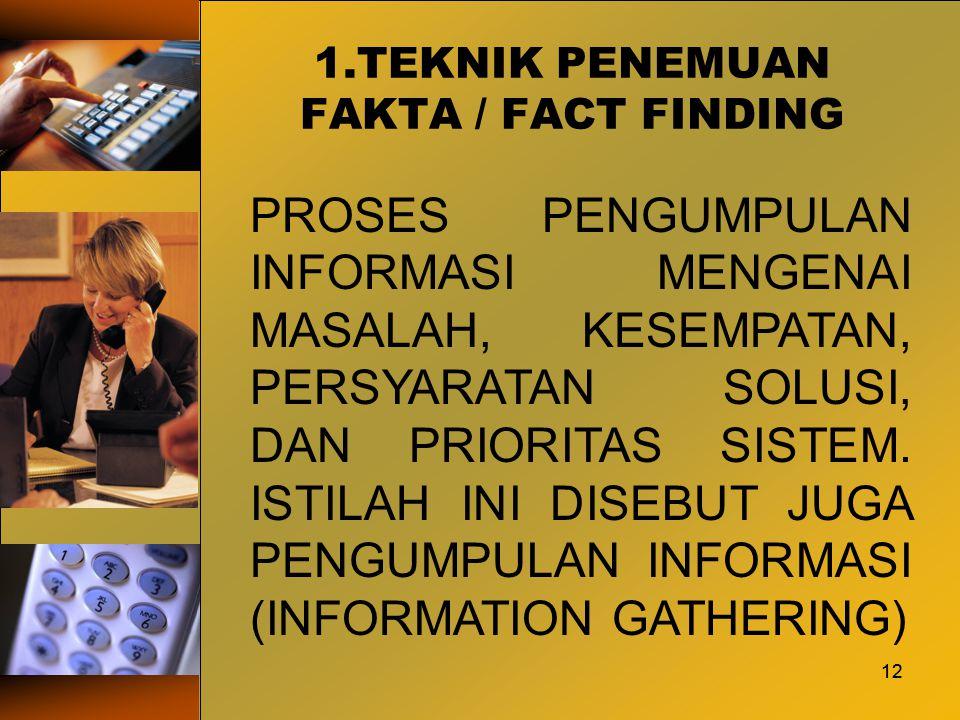 12 1.TEKNIK PENEMUAN FAKTA / FACT FINDING 12 PROSES PENGUMPULAN INFORMASI MENGENAI MASALAH, KESEMPATAN, PERSYARATAN SOLUSI, DAN PRIORITAS SISTEM. ISTI