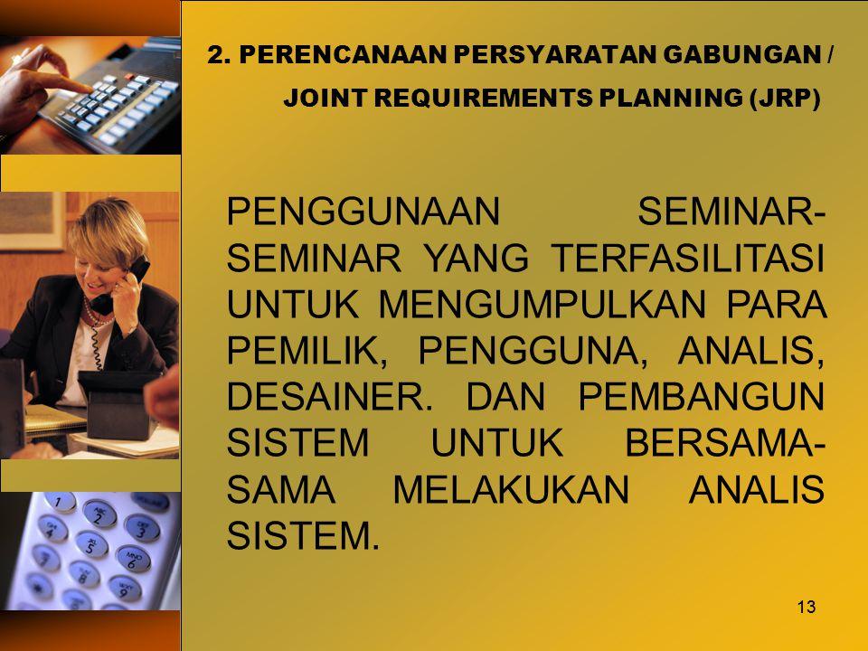 13 2. PERENCANAAN PERSYARATAN GABUNGAN / JOINT REQUIREMENTS PLANNING (JRP) 13 PENGGUNAAN SEMINAR- SEMINAR YANG TERFASILITASI UNTUK MENGUMPULKAN PARA P