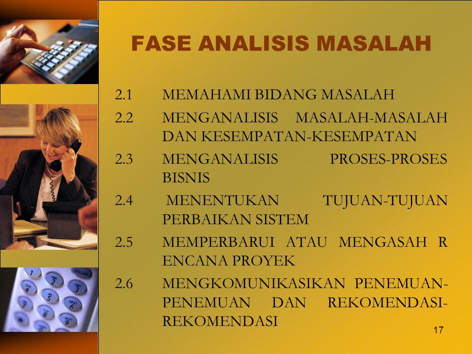 17 FASE ANALISIS MASALAH 2.1MEMAHAMI BIDANG MASALAH 2.2MENGANALISIS MASALAH-MASALAH DAN KESEMPATAN-KESEMPATAN 2.3MENGANALISIS PROSES-PROSES BISNIS 2.4
