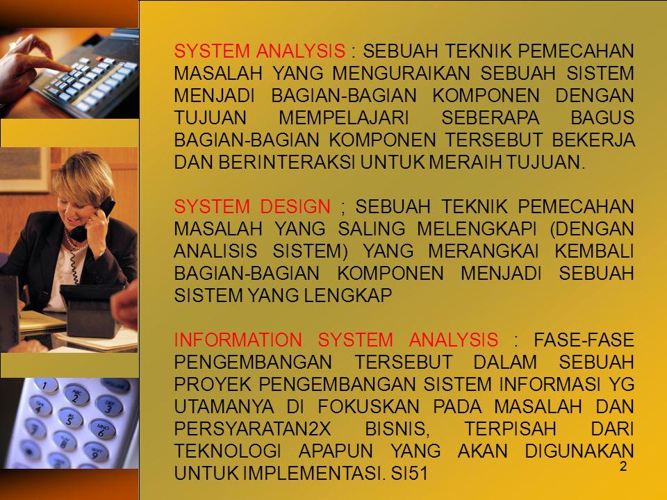 2 SYSTEM ANALYSIS : SEBUAH TEKNIK PEMECAHAN MASALAH YANG MENGURAIKAN SEBUAH SISTEM MENJADI BAGIAN-BAGIAN KOMPONEN DENGAN TUJUAN MEMPELAJARI SEBERAPA B