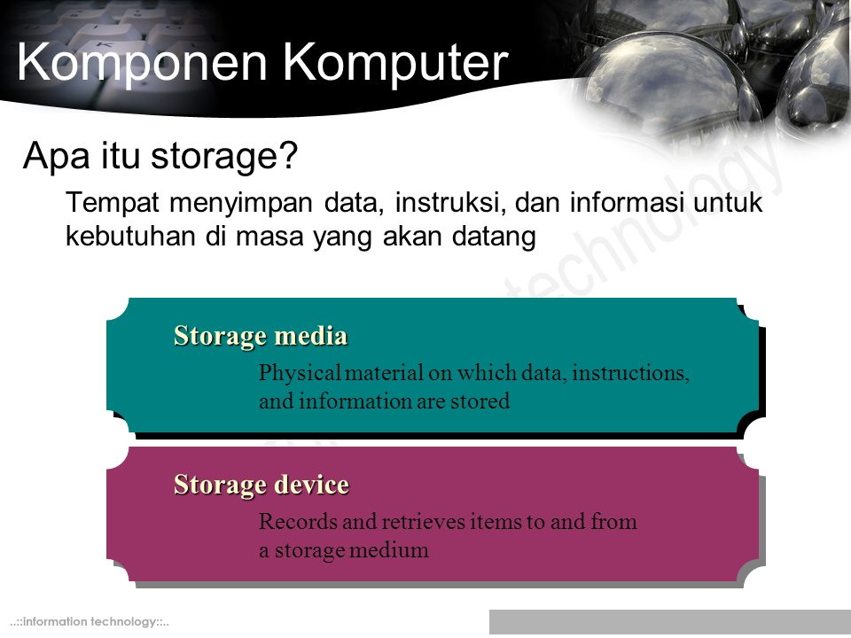 Komponen Komputer Apa itu storage? Tempat menyimpan data, instruksi, dan informasi untuk kebutuhan di masa yang akan datang Storage media Physical mat