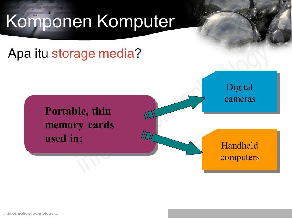 Komponen Komputer Apa itu storage media? Digital cameras Handheld computers Portable, thin memory cards used in:
